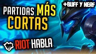 Las partidas DURARÁN MENOS + BUFF Ryze, Fiora, Nidalee - RIOT HABLA | Noticias League Of Legends LoL