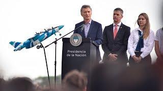 El presidente Mauricio Macri presentó los aviones Pampa III en Fadea