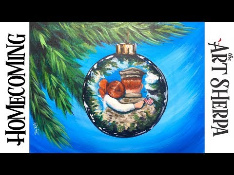 How to paint a Reflection on a Christmas Ornament Acrylic on canvas