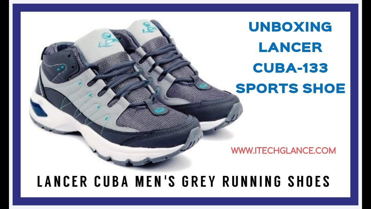6a95536c366 UNBOXING LANCER CUBA MEN S GREY SPORTS RUNNING SHOES - YouTube