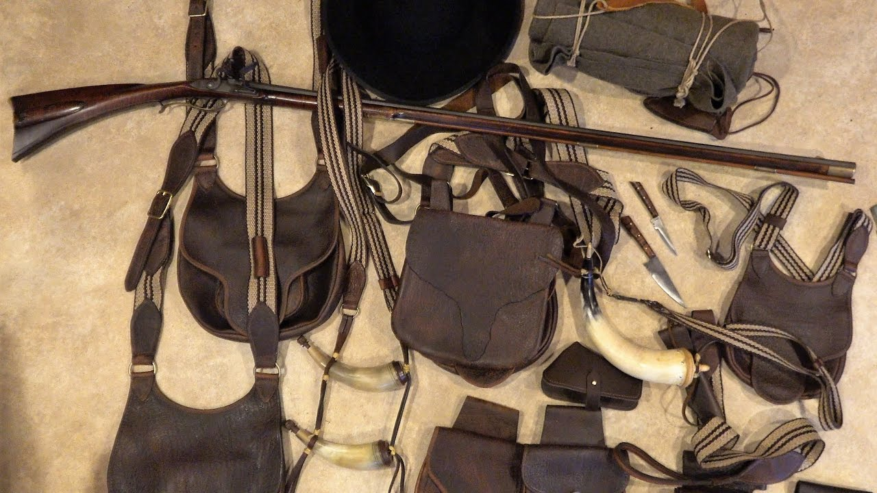 Traditional Leather Hunting Gear - Possibles Bag - Powder Horn - Knife -  Clothing