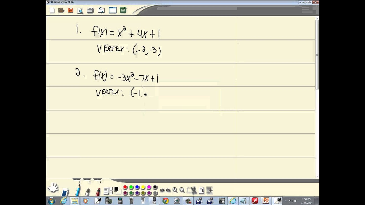 Technology in College Algebra - Quadratic Functions - Vertex - HP Prime