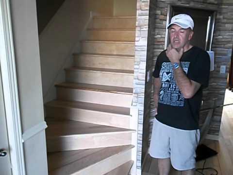 Rénovation Revêtement escalier en merisier vernis - YouTube