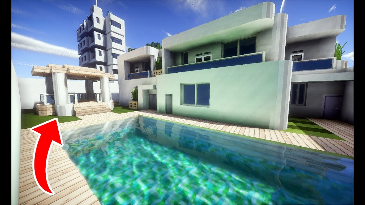 Minecraft newjankecity ii casa moderna 01 piscina youtube for Piscinas modernas