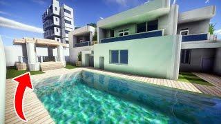 minecraft piscina casa moderna