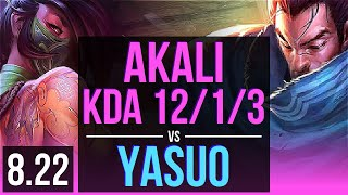 AKALI vs YASUO (MID) | KDA 12/1/3, Godlike | Korea Challenger | v8.22