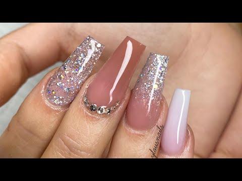Acrylic Nail Tutorial-  Long nude & glitter thumbnail