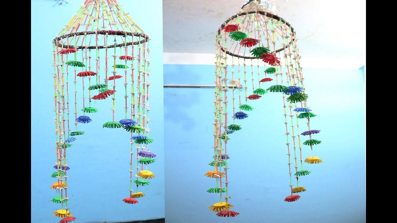 Diy beautiful wind chimes with plastic bottles bottle for How to make bottle cap crafts