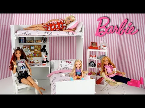 Barbie Sisters Pink Bedroom with Bunk Beds - Hello Kitty Dollhouse Miniatures