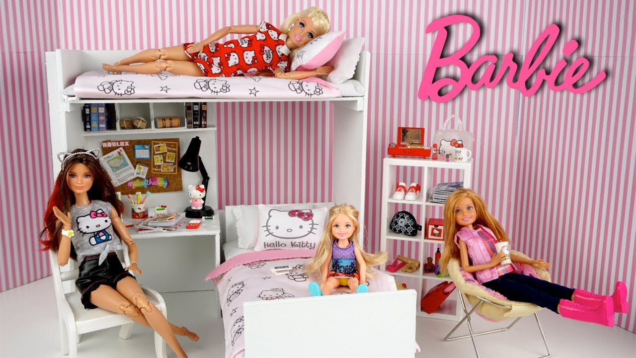 Barbie Sisters Pink Bedroom With Bunk Beds Hello Kitty Dollhouse
