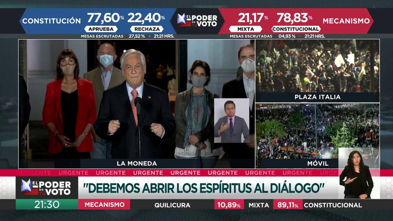 Plebiscito Chile 2020 | Piñera habla tras inminente triunfo del Apruebo -  YouTube