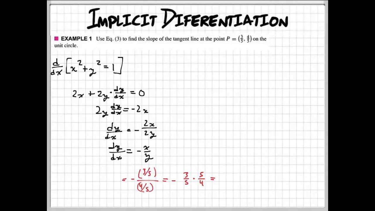 Implicit Differentiation Example 1 Youtube