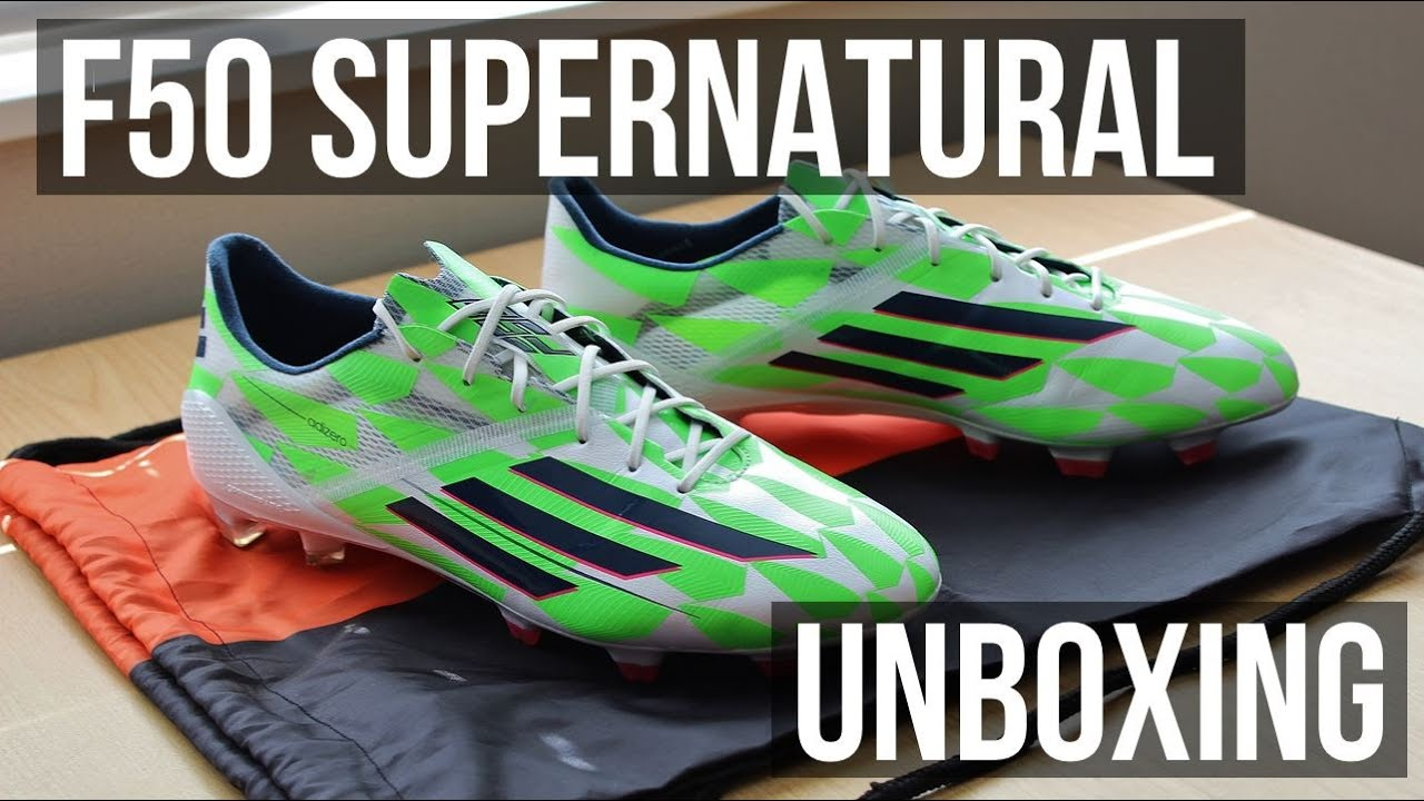 f1281f6bd48 Unboxing Adidas F50 AdiZero SUPERNATURAL Core White Solar Green Rich Blue -  FootballBoots.co.uk