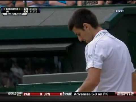 June 30th 2010 Novak Djokovic knocks out Yen-hsun Lu at Wimbledon