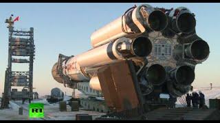 HD RAW Proton rocket w/Gazprom Yamal satellite erected on launchpad