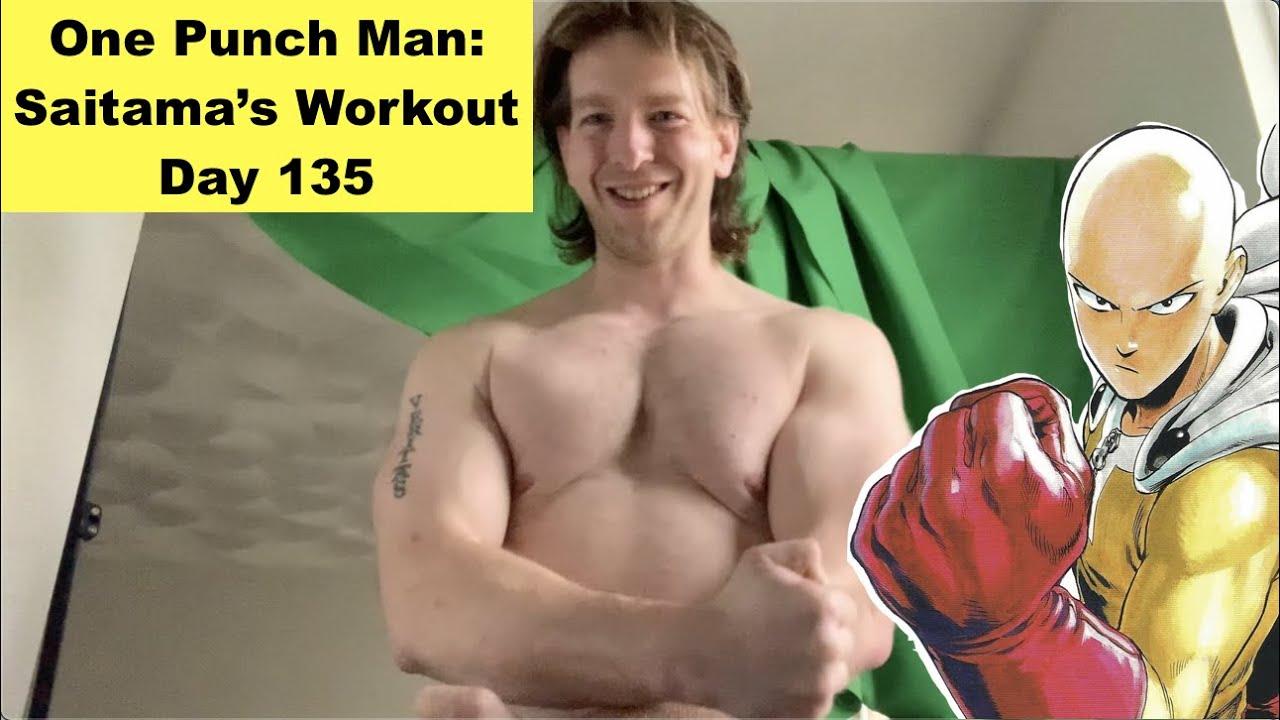 Saitama Training Results - One Punch Man: Saitama's Workout Day 135 - YouTube
