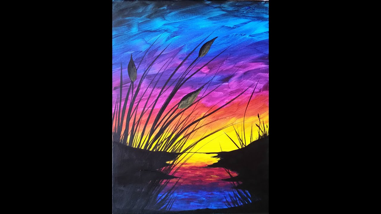 Canvas Painting Sunset And Cattails Reboot Step By Step Acrylic Painting On Canvas