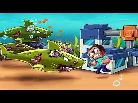 Minecraft | ZOMBIE JAWS BASE DEFENSE - Zombie Sharks Attack! (Underwater Base) thumbnail