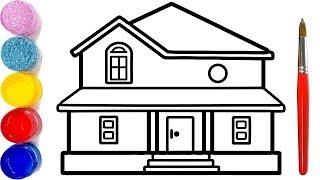 Đồ Chơi Tô Màu | Vẽ Ngôi Nhà | Bé Học Vẽ Tranh | House coloring and drawing for kids, Toys House