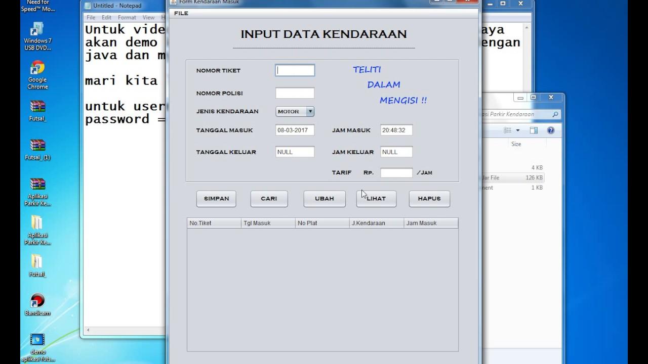 [Demo] Aplikasi Parkir Kendaraan dengan Java Netbeans dan Mysql