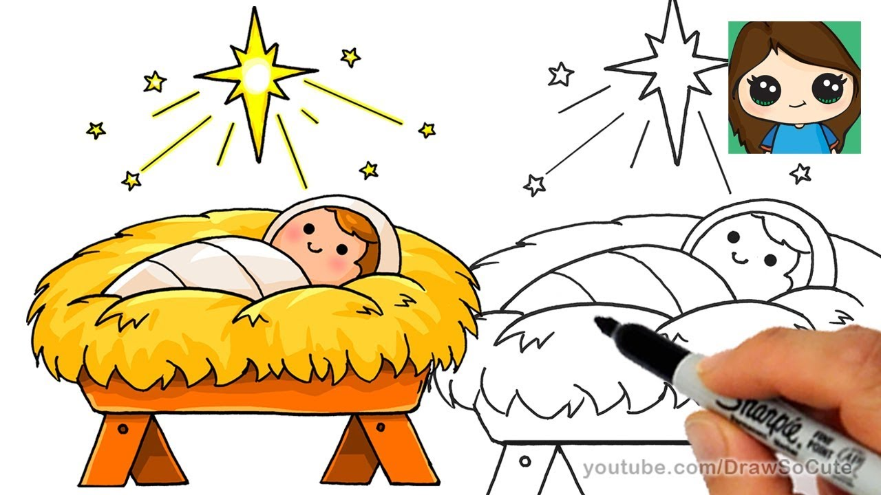 How to draw baby jesus easy star of bethlehem nativity scene