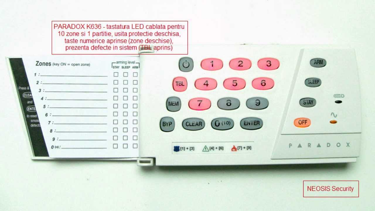 Security Alarm Now >> Tastatura LED PARADOX K636 - 10 zone 1 partitie - NEOSIS ...