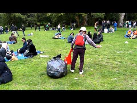 Chinese Woman Gathering recycling at San Francisco's 420 Celebration