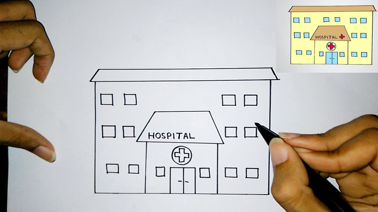 How To Draw A Hospital Easily For Kids