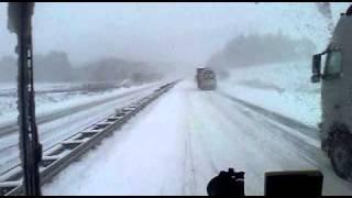 Polish Lorry Truck Tir Driver / Driving In Heavy Snow On German Motorway Autobhan