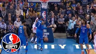 Carmelo Anthony yelling at Steven Adams shows a