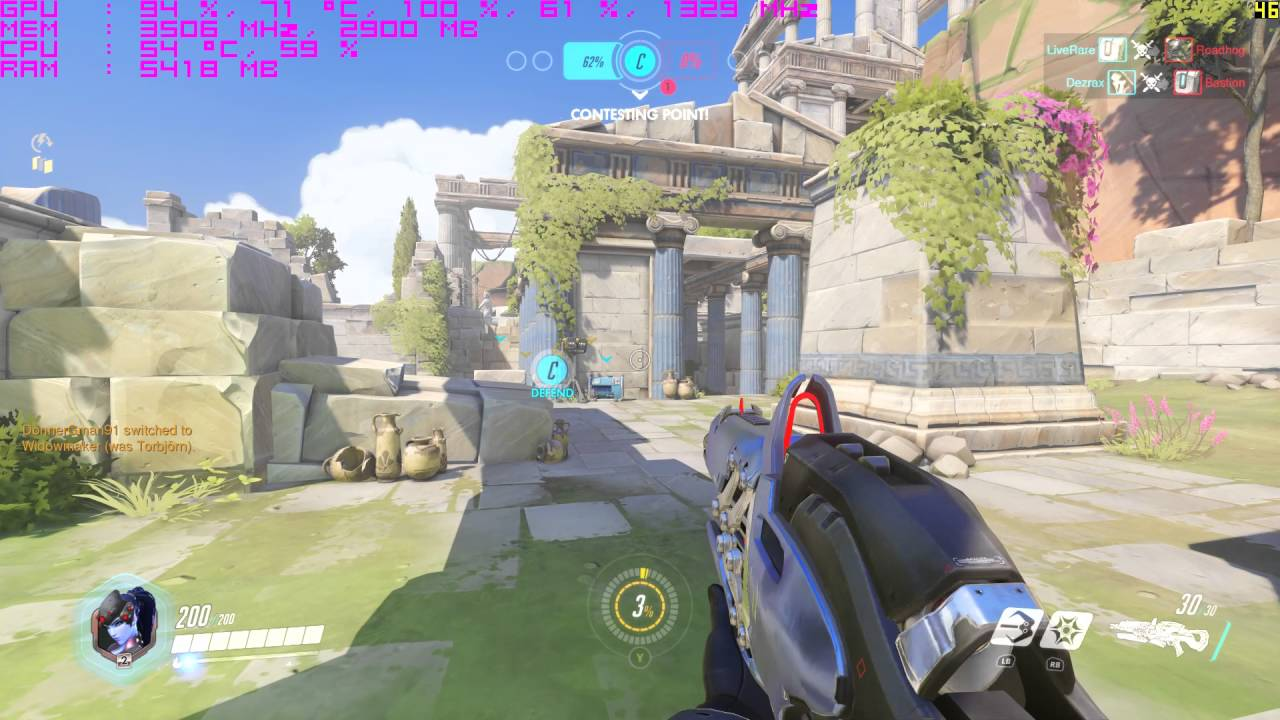 Overwatch (PC) 200% Resolution Scale with FPS Counter Nvidia GTX 980 i5  4670k - TheDonnerGman