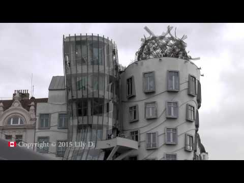 "Dancing house, ""Ginger & Fred"" building in Prague, Czech Republic. HD."