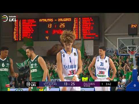 LaMelo 4 pts in a row vs Zalgiris and a steal from Serbian international