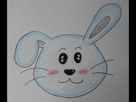 how to draw a Cartoon Bunny Face step by step for kids ...
