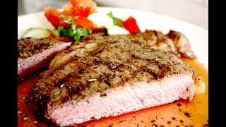 Стейк рибай на сковороде-гриль