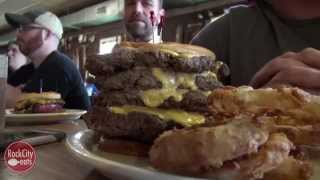 Gut Bomb Challenge: Cothams Quadruple Hubcap Burger