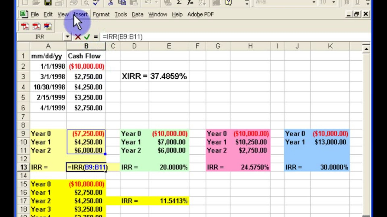 Monthly vs. Yearly IRR XIRR