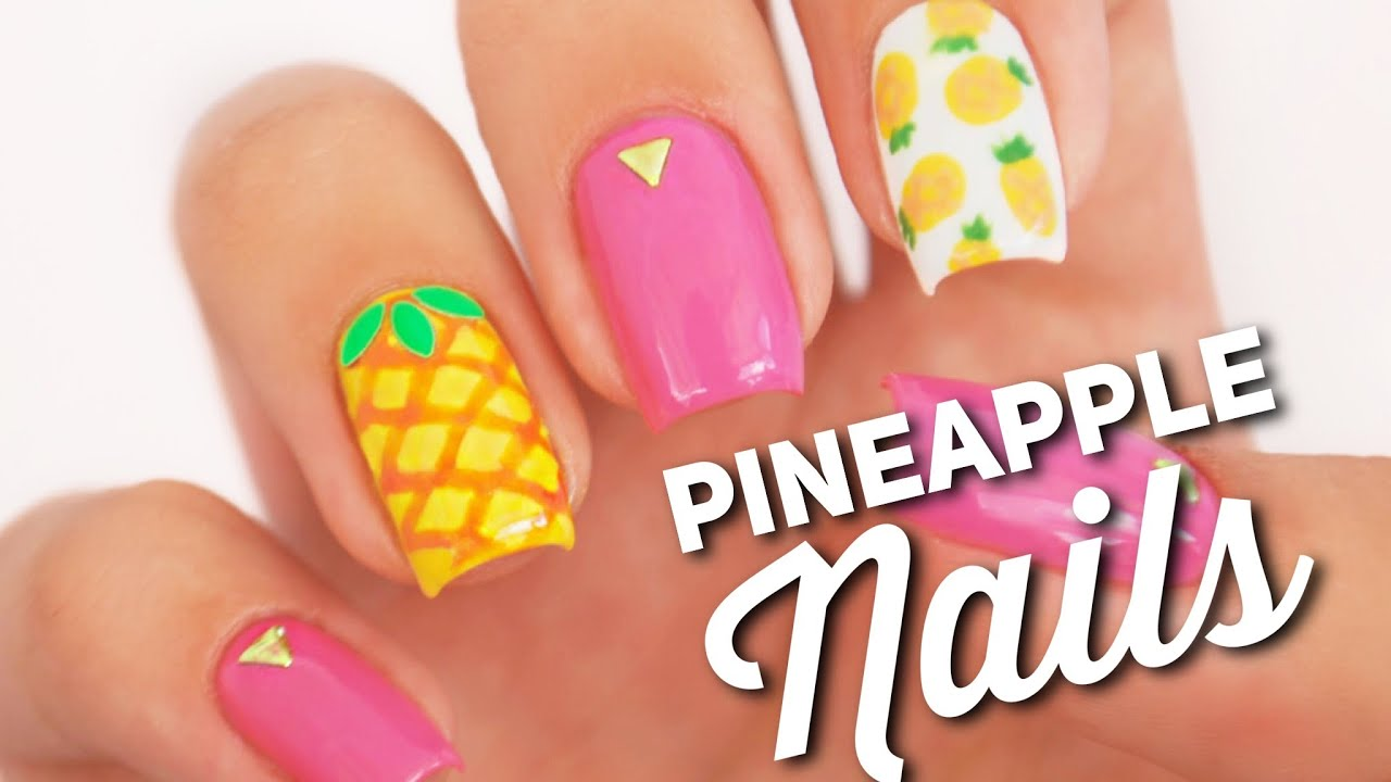 Pineapple Nail Art Design | Fruit Manicure - YouTube