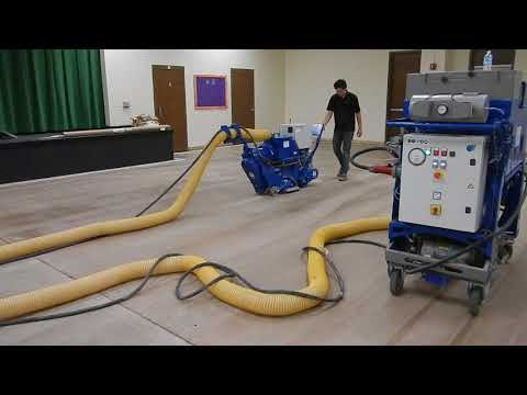 Steel Shot Blasting Prep for Epoxy Floor Coating (Blastrac)