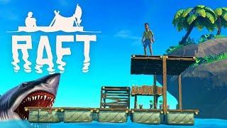 Опять СЪЕЛА АКУЛА! Продолжаем ВЫЖИВАТЬ в ОКЕАНЕ с Funny Games TV Игра RAFT #4