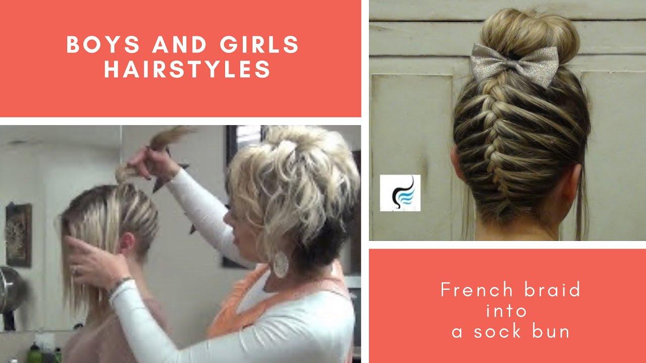 french braid sock bun girls hairstyles