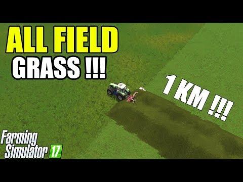 Farming Simulator 17   ALL FIELD GRASS !! GRASS TAIL 1 KM ! 😳😳😳