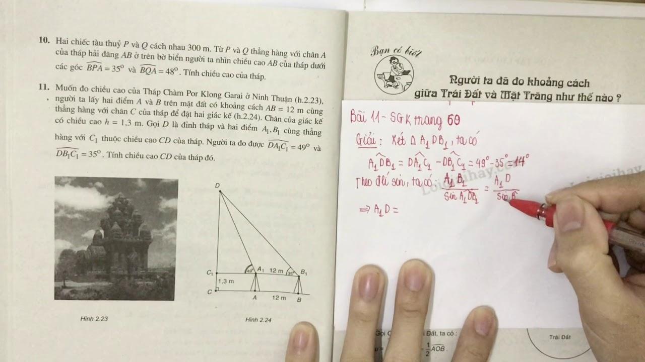 Giải bài 11 trang 60 SGK Hình học 10