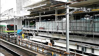 【後方展望】JR渋谷駅 2番線ホーム(山手線内回り)から見た改良工事中の新埼京線ホーム 2020年3月