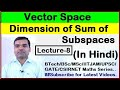 Vector Space Dimension of Sum of Subspace in Hindi