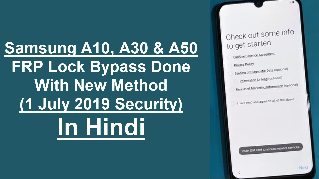 Samsung Galaxy A10, A30, & A50 FRP Lock Remove Done New Method (July  Security Patch 2019) In Hindi