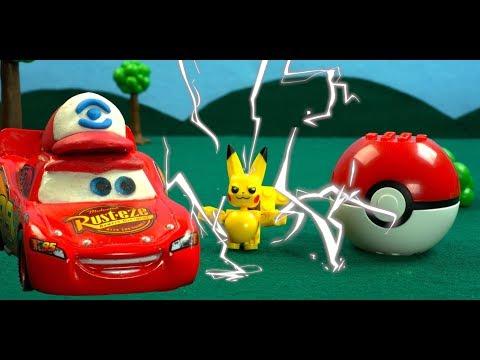 Poke Cars Lightning McQueen Races away from Pokemon Poke Ball