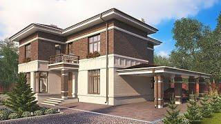 Проект дома в современном стиле из кирпича. Дом с сауной, террасой и балконом. Ремстройсервис KR-249
