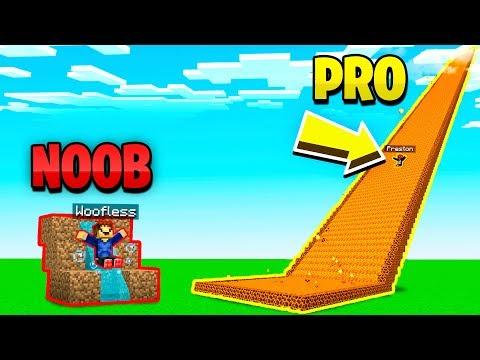 MINECRAFT NOOB vs PRO GIANT SLIDE CHALLENGE!