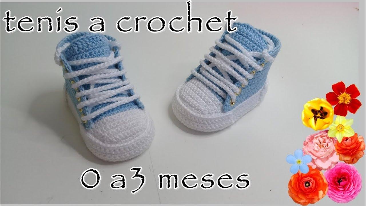 Tenis tejidos a crochet modelo Roberts 0 a 3 meses
